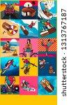 sports adrenaline snowboarding...   Shutterstock . vector #1313767187