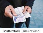 closeup of a young caucasian... | Shutterstock . vector #1313797814