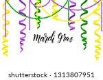 mardi gras greeting background... | Shutterstock .eps vector #1313807951