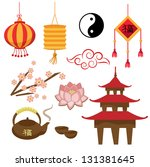 Set of objects - the Chinese tradition (Vector)