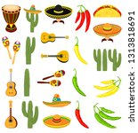 colorful cartoon 23 mexican... | Shutterstock .eps vector #1313818691
