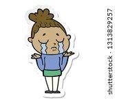 sticker of a cartoon crying... | Shutterstock .eps vector #1313829257