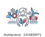 green planet   modern line... | Shutterstock .eps vector #1313850971