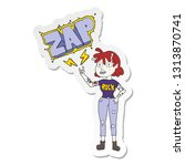 sticker of a cartoon alien rock ... | Shutterstock .eps vector #1313870741