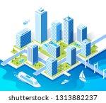 isometric vector blue buildings ... | Shutterstock .eps vector #1313882237