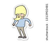 sticker of a cartoon bearded... | Shutterstock .eps vector #1313902481