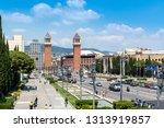 plaza of spain  barcelona in... | Shutterstock . vector #1313919857