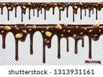 dripping chocolate with peanut... | Shutterstock .eps vector #1313931161