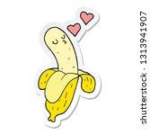 sticker of a cartoon banana in...   Shutterstock .eps vector #1313941907