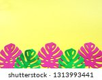 monstera leaves made from pink... | Shutterstock . vector #1313993441