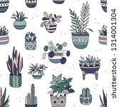 house plants color hand drawn... | Shutterstock .eps vector #1314001304