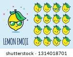 lemon emoji sticker icon set