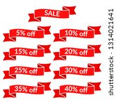 set of red sale ribbons with... | Shutterstock . vector #1314021641
