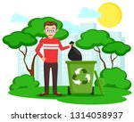 man throws a black bag in the... | Shutterstock .eps vector #1314058937