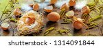 egg in a nest   easter  | Shutterstock . vector #1314091844