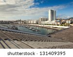 View to the Ponta Delgada city from marina, San miguel, Azores, Portugal - stock photo