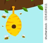 flat vector beehive with honey... | Shutterstock .eps vector #1314104111