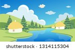 spring or summer landscape with ... | Shutterstock .eps vector #1314115304