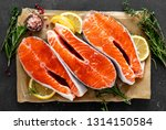 fresh raw salmon fish steaks on ... | Shutterstock . vector #1314150584