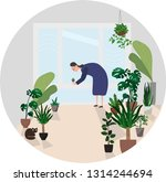 woman take care of indoor plants | Shutterstock .eps vector #1314244694