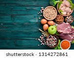 balanced diet food background.... | Shutterstock . vector #1314272861