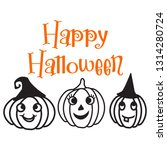 happy halloween with three... | Shutterstock .eps vector #1314280724
