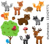 vector set of cute woodland and ... | Shutterstock .eps vector #131429771