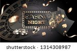 Advertising poster design, Casino Night text with casino chips, coins and playing cards illustration on black background. - stock vector
