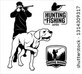 hunter with dog aiming with his ... | Shutterstock .eps vector #1314309317