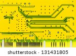 Close up of a yellow computer microcircuit - stock photo
