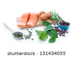 protein rich superfoods | Shutterstock . vector #131434055