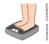 vector of feet on weighing... | Shutterstock .eps vector #1314348254
