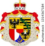 Coat of arms of Liechtenstein is a doubly landlocked German-speaking microstate in Alpine Central Europe. Vector illustration