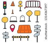 vector set of traffic equipment | Shutterstock .eps vector #1314367397