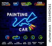 car painting blue glowing neon...