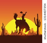 rodeo cowboy riding wild horse... | Shutterstock .eps vector #1314407354