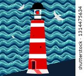 Lighthouse And Sea Waves Vector