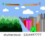 nature versus tower city and... | Shutterstock .eps vector #1314497777