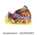 cute guinea fowl with several... | Shutterstock . vector #1314542591
