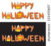 the drawn words happy halloween ... | Shutterstock .eps vector #131455607