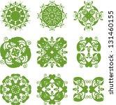 set of green floral symbols | Shutterstock .eps vector #131460155