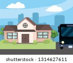 urban house cartoon | Shutterstock .eps vector #1314627611