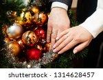 wedding couple hands with...   Shutterstock . vector #1314628457