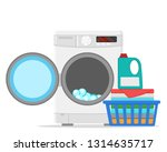 washing machine and basket with ... | Shutterstock .eps vector #1314635717