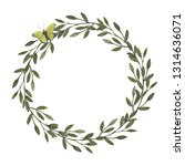watercolor wreath. leaves frame.... | Shutterstock . vector #1314636071