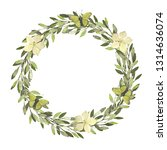 watercolor wreath. leaves frame.... | Shutterstock . vector #1314636074