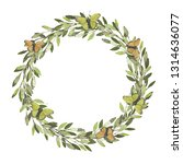watercolor wreath. leaves frame.... | Shutterstock . vector #1314636077