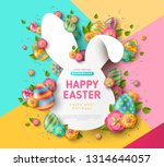 Stock vector easter card with bunny rabbit shape frame spring flowers and eggs on colorful modern geometric 1314644057