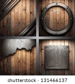 vector metal background set | Shutterstock .eps vector #131466137
