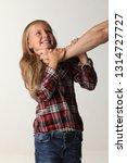 portrait girl with long blond...   Shutterstock . vector #1314727727